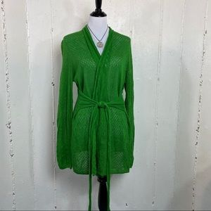 Knitted knotted XL green knit belted cardigan